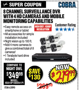 78 Channel Surveillance DVR with 4 HD Cameras and Mobile Monitoring Capabilities