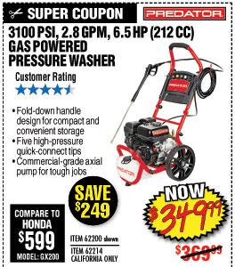 3100 PSI, 2.8 GPM, 6.5 HP (212cc) Pressure Washer CARB