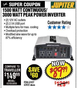 21500 Watt Continuous/3000 Watt Peak Modified Sine Wave Power Inverter