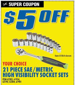 $5 off Hi Visiblity 21pc Socket Set (3 skus)