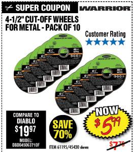 14-1/2 in. 40 Grit Metal Cut-off Wheel 10 Pc