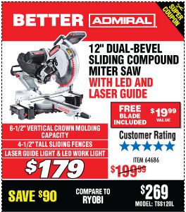 12 in. Dual-Bevel Sliding Compound Miter Saw with LED & Laser Guide