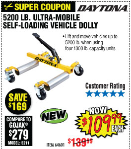5200 Lb. Max Vehicle Weight Ultra-Mobile Self-Loading Dolly