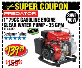 1 in. 79cc Gasoline Engine Clear Water Pump - 35 GPM