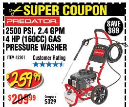 2500 PSI, 2.4 GPM, 4 HP (160cc) Pressure Washer
