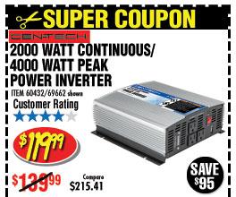 2000 Watt Continuous/4000 Watt Peak Power Inverter