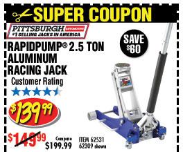 2.5 Ton Aluminum Racing Floor Jack with RapidPump