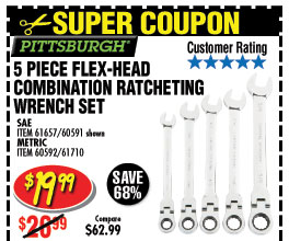 5 Pc Flex-Head Combination Ratcheting Wrench Set