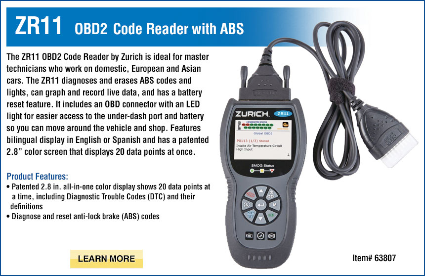 ZR11 OBD2 Code Reader with ABS