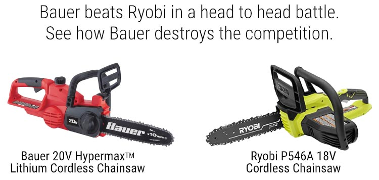 Bauer beats Ryobi in a head to head battle. See how Bauer destroys the competition.