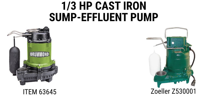 Drummond 1/3 HP Cast Iron Sump-Effluent Pump - Item 63645 vs. Zoeller Z530001