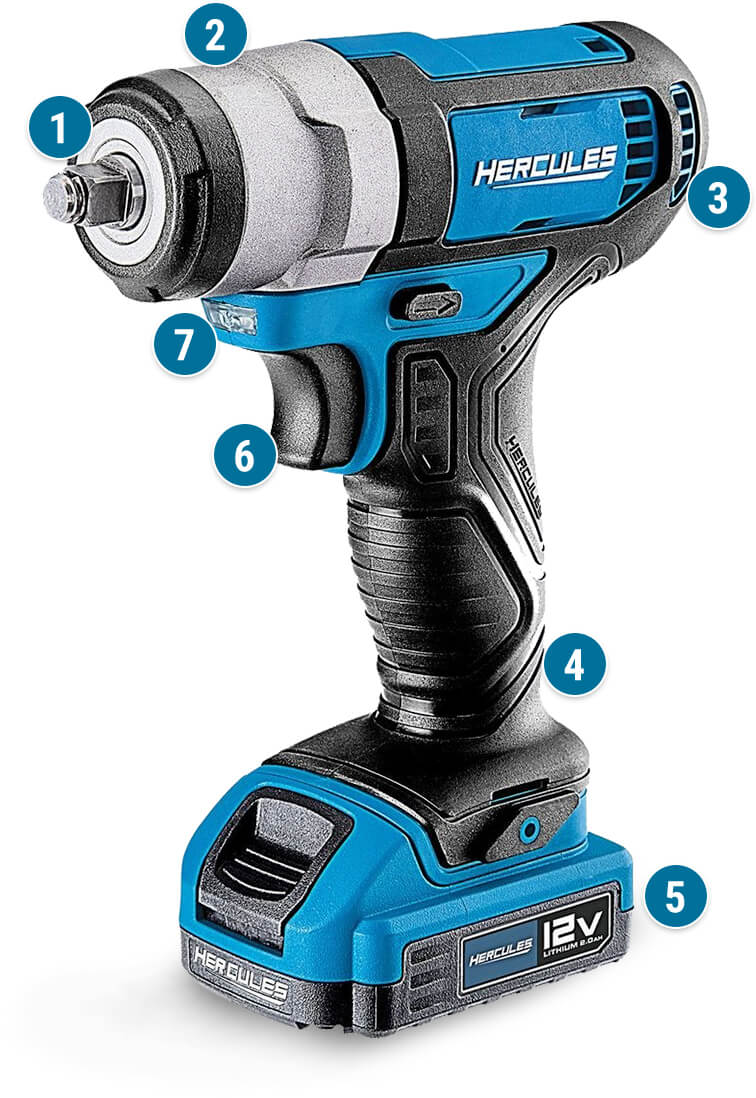 Hercules 12v Lithium-Ion Cordless 3/8 In. Compact Impact Wrench, Blue - Tool Only