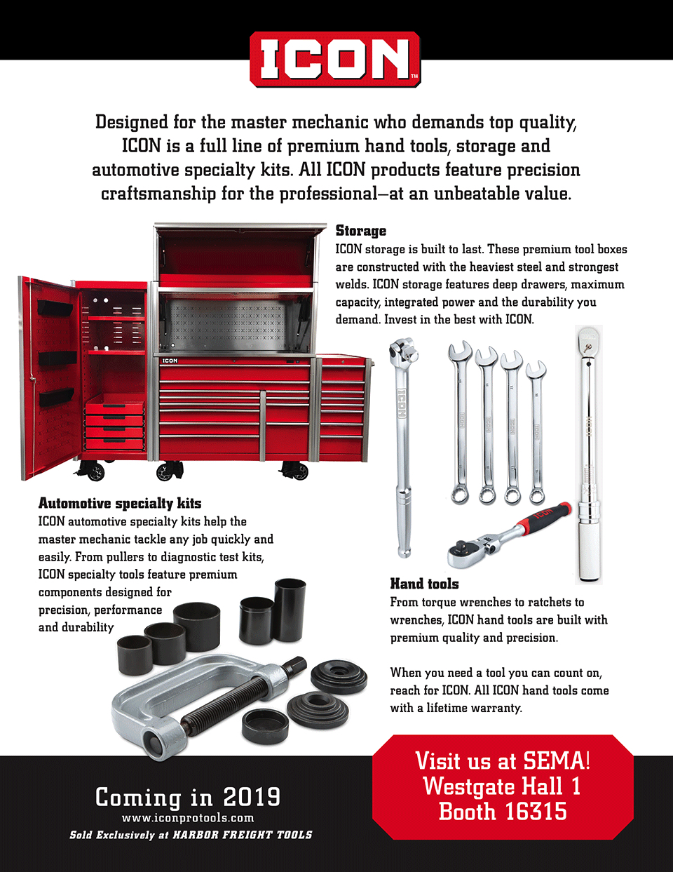 ICON storage, automotive specialty kits and hand tools.