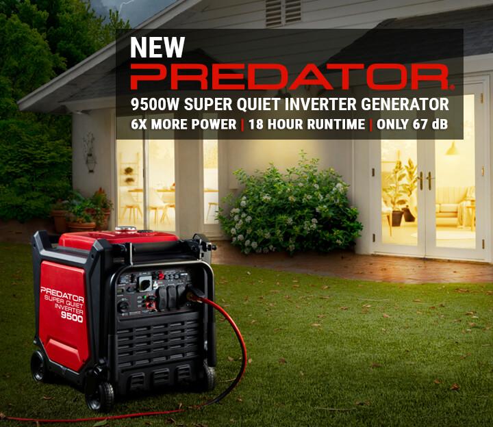 New Predator® 9500W Super Quiet Inverter Generator | 6x More Power | 18 Hour Runtime | Only 67 dB