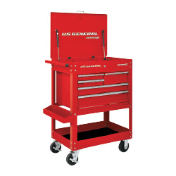 U.S. General 30 in. 5 Drawer Mechanic's Cart, Red