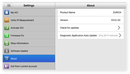 Zurich Diagnostic Software Version Screen