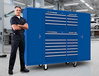 Man with large tool storage cabinet