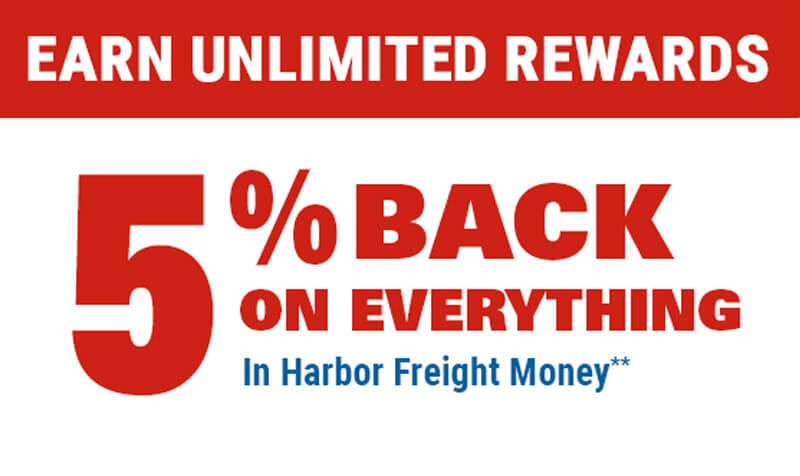 5% Back on Everything in Harbor Freight Money