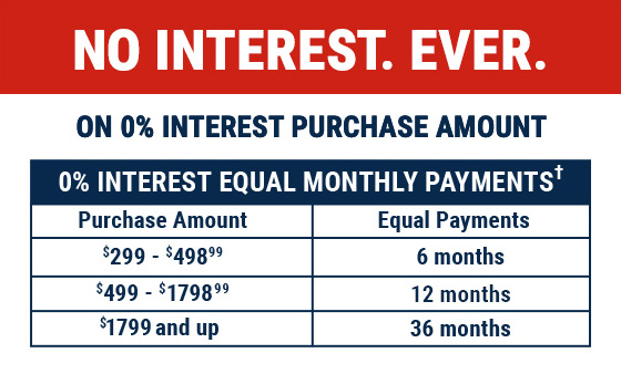 0% Interest on your entire purchase of $299 or more
